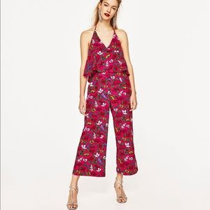 Zara Basic Floral Cropped Jumpsuit small